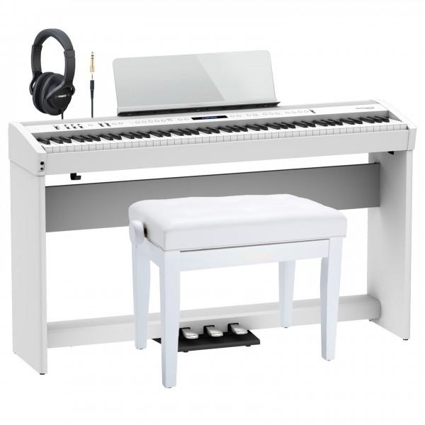 Roland FP-60X Home Piano Premium Bundle, White