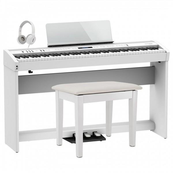 Roland FP-60X Home Piano Bundle, White
