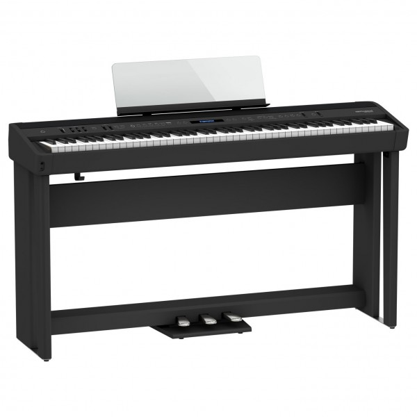 Roland FP-90X Digital Piano with Wood Frame Stand and Pedals, Black