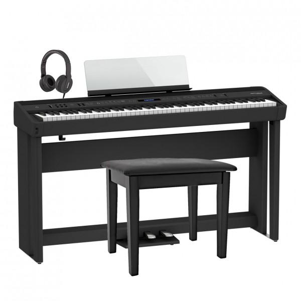Roland FP-90X Home Piano Bundle, Black