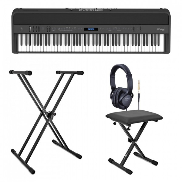 Roland FP-90X Digital Piano with Stand, Stool and Headphones, Black