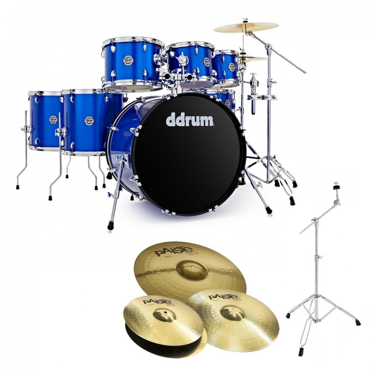 DDrum D2 22'' 7pc Drum Kit w/Paiste Cymbals, Cobalt Blue Sparkle