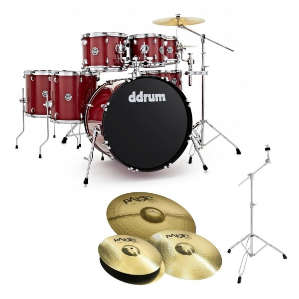 DDrum D2 22'' 7pc Drum Kit w/Paiste Cymbals, Red Sparkle