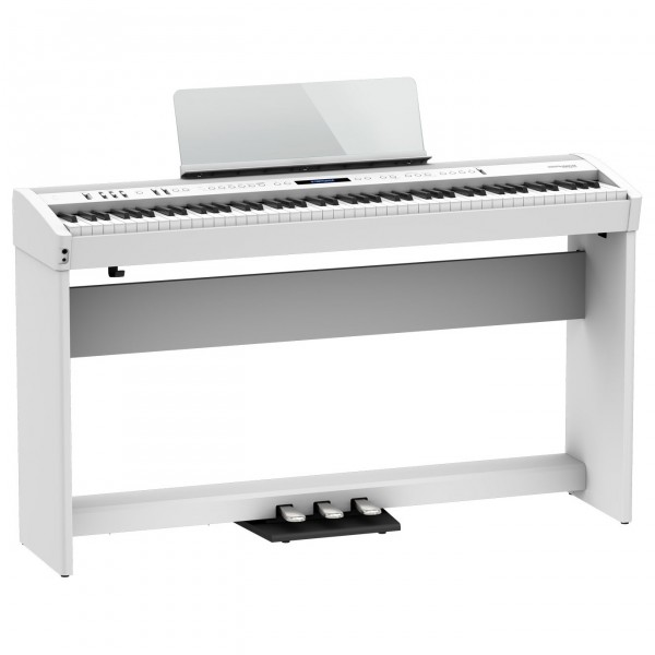 Roland FP-60X Digital Piano with Wood Frame Stand and Pedals, White