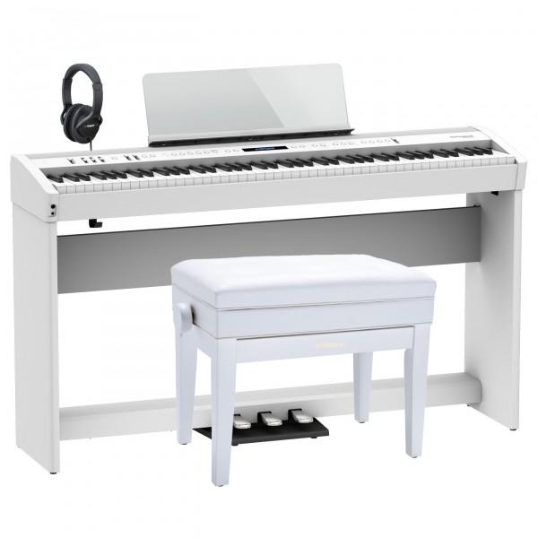 Roland FP-90X Home Piano Premium Bundle, White
