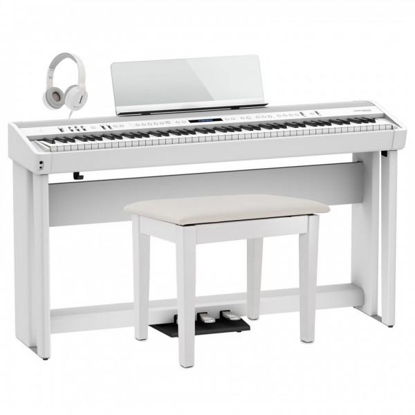 Roland FP-90X Home Piano Bundle, White