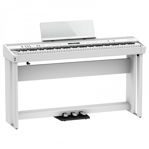 Roland FP-90X Digital Piano with Wood Frame Stand and Pedals, White