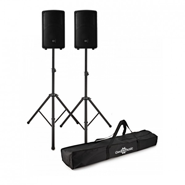 RCF HD 10-A MK4 10'' Active Speakers, Pair with Stands - Full Package