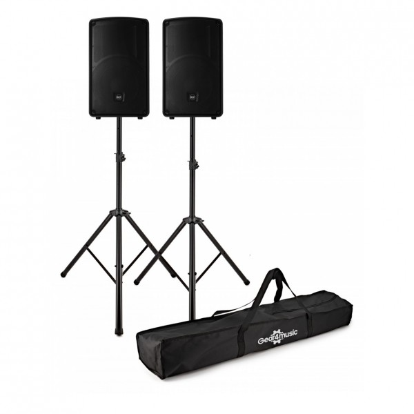 RCF HD 32-A MK4 12'' Active Speakers, Pair with Stands - Full Package