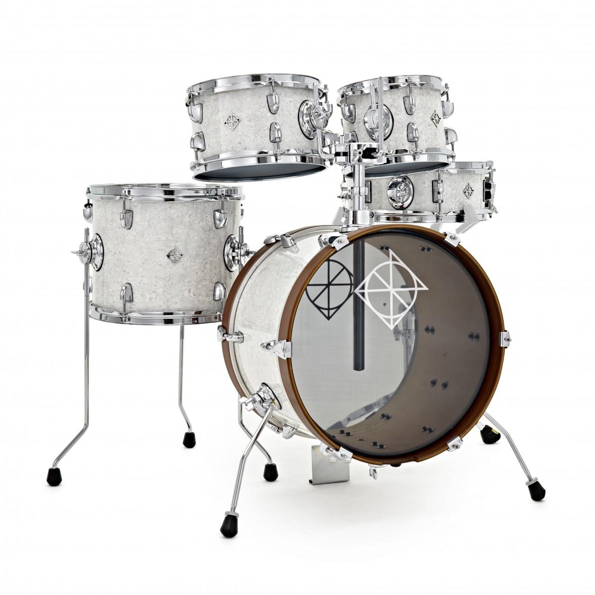 Dixon Drums Jet Set Plus 5pc Shell Pack, Sub Zero White