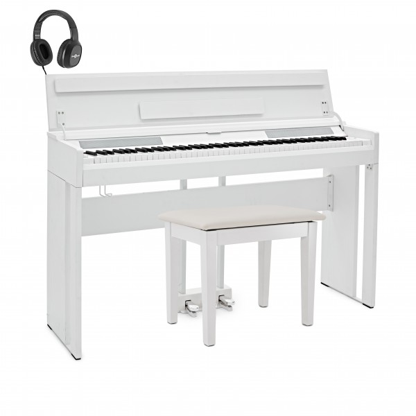 DP-12 Compact Digital Piano by Gear4music + Stool Pack, White