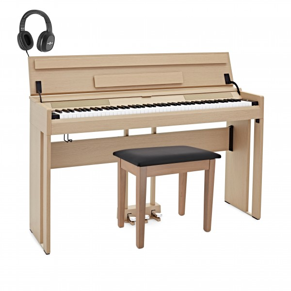 DP-12 Compact Digital Piano by Gear4music + Stool Pack, Light Oak