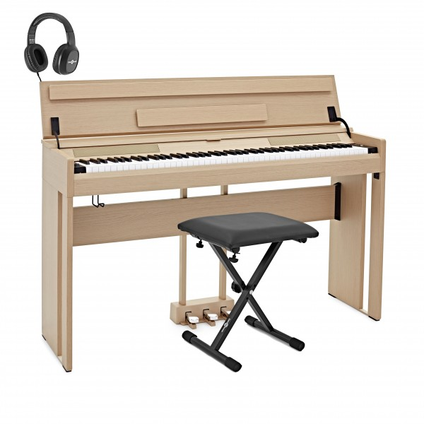 DP-12 Digital Piano by Gear4music + Accessory Pack, Light Oak