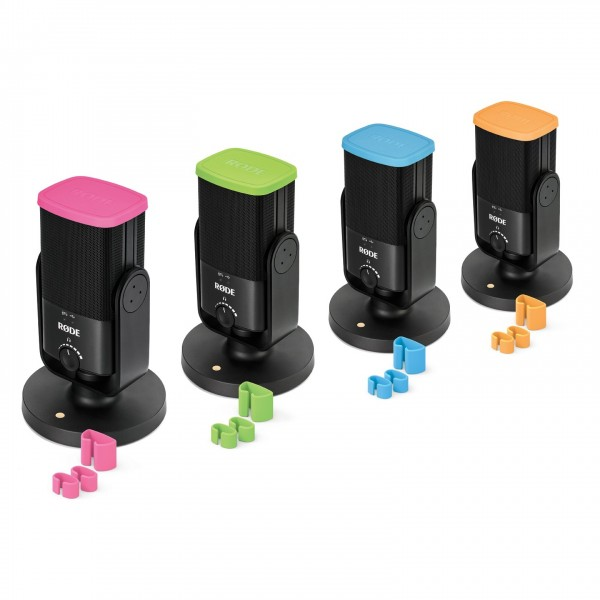 Rode Colors, Coloured Identification Caps and Clips for NTUSB, 4 Pack - Angled