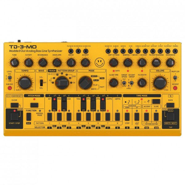 Behringer TD-3-MO Modded Out Analogue Bass Line Synthesizer, Yellow - Top