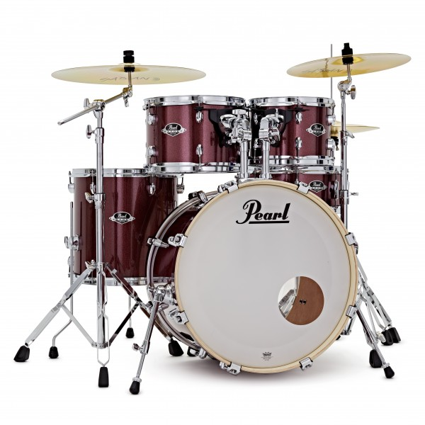 Pearl Export 20'' Fusion Drum Kit w/Stool and Sticks, Cherry Glitter