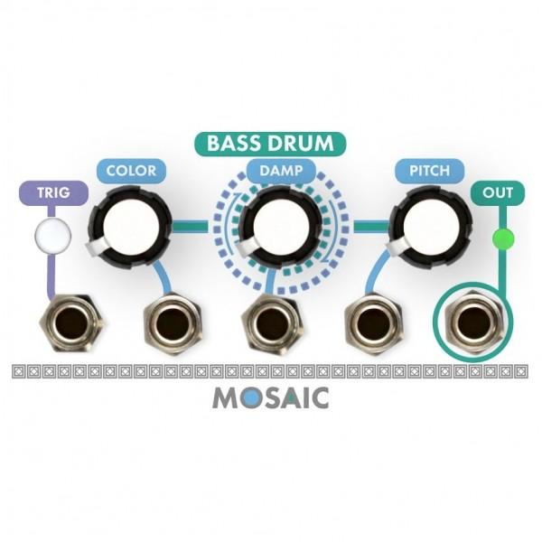 Mosaic 1U Bass Drum Module, White