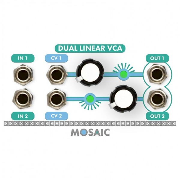 Mosaic 1U Dual Linear VCA Module, White
