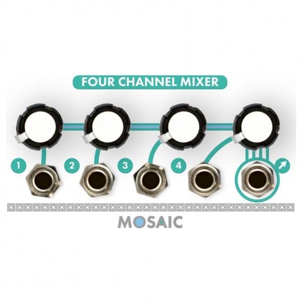 Mosaic 1U Four Channel Mixer Module, White