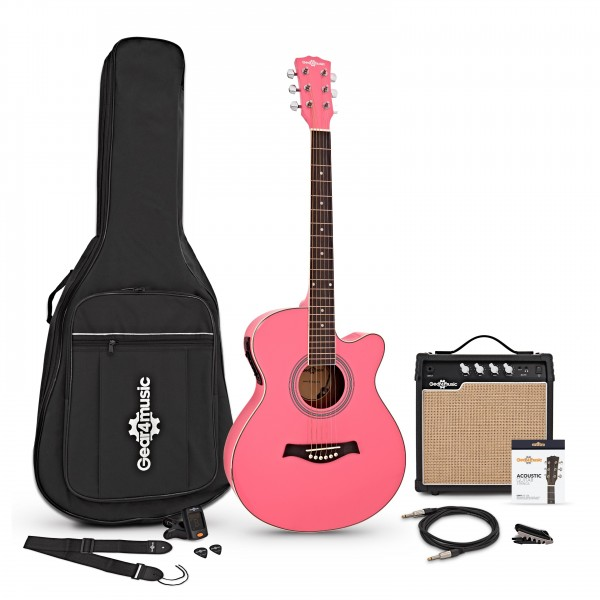 Single Cutaway Electro Acoustic Guitar + 15W Amp Pack, Pink