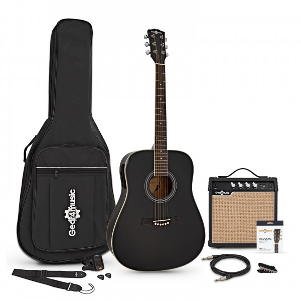 Dreadnought Electro Acoustic Guitar + 15W Amp Pack, Black