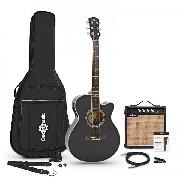 Single Cutaway Electro Acoustic Guitar + 15W Amp Pack, Black