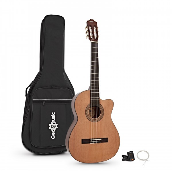 Deluxe Single Cutaway Classical Acoustic Guitar Pack by Gear4music