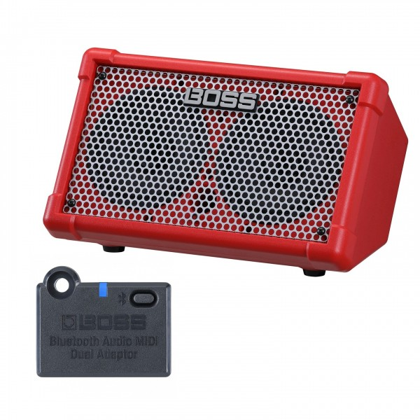 Boss Cube Street 2 Portable Stereo Amp with Bluetooth Adaptor, Red - Amp and Adaptor View