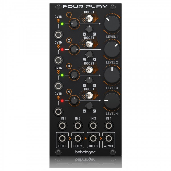 Behringer FOUR PLAY Quad Voltage Controlled Amplifiers & Mixer Module - Front