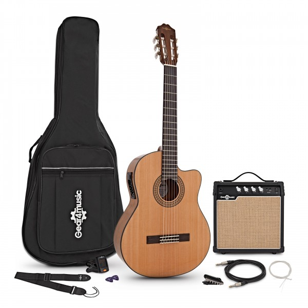 Deluxe Single Cutaway Classical Electro Guitar + 15W Amp Pack