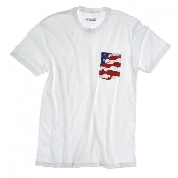 DW American Flag Pocket T-Shirt White, Size XXL