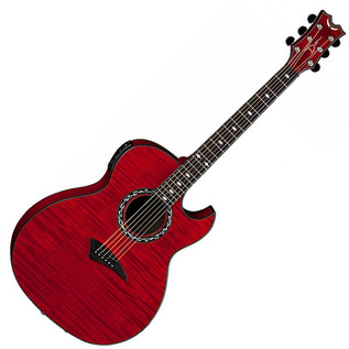 Dean Exhibition Thin Body Flame Maple Electro-Acoustic, Trans Red