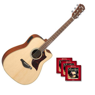 Yamaha A1M Electro Acoustic Guitar, Natural with FREE Strings