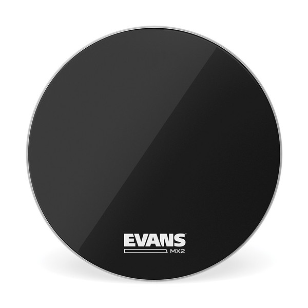 Evans MX2 Black Marching Bass Drum Head, 18 Inch