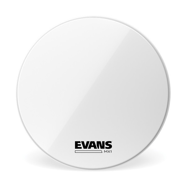 Evans MX1 White Marching Bass Drum Head, 20 Inch