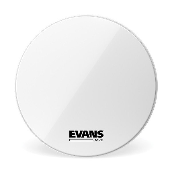 Evans MX2 White Marching Bass Drum Head, 28 Inch