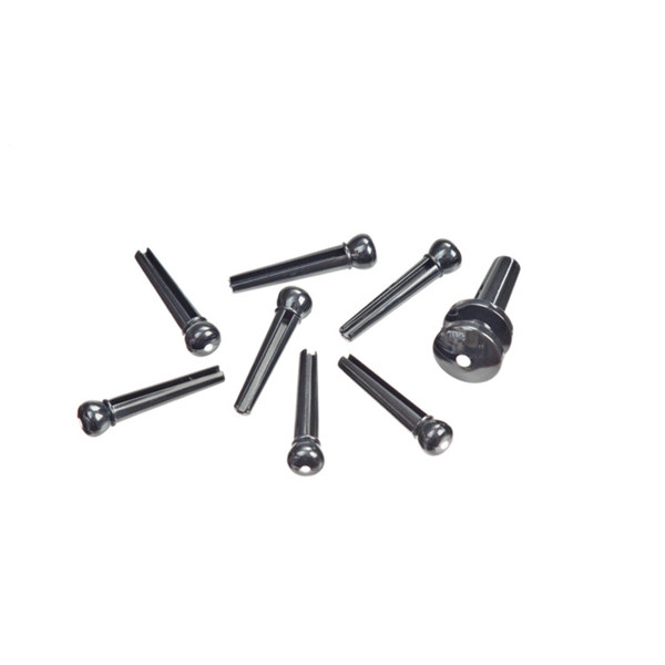 Planet Waves Injected Molded Bridge Pins with End Pin Set, Ebony with Ivory Dot