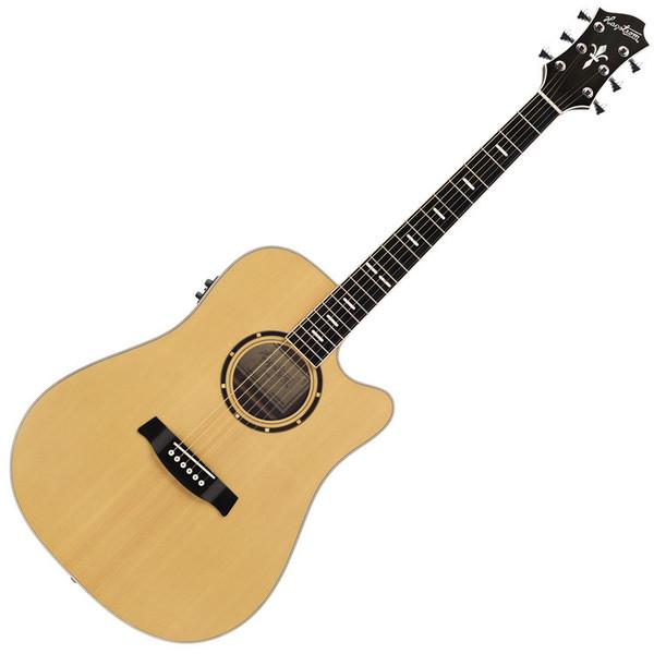 Hagstrom Dalarna Dreadnought Electo-Acoustic Cutaway Guitar, Natural