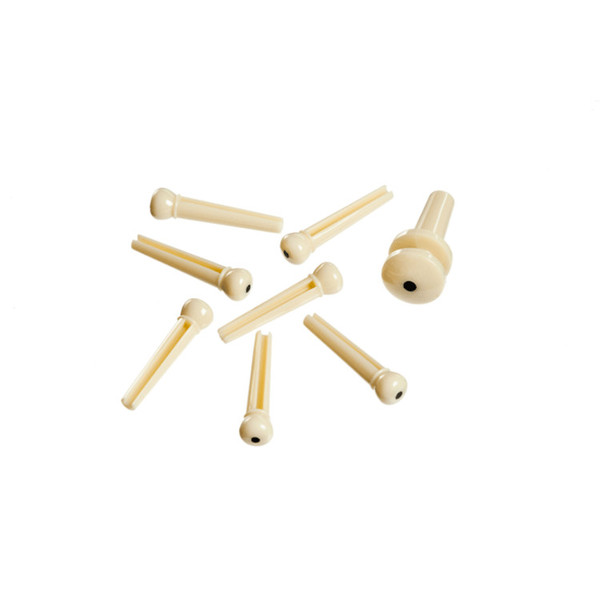 Planet Waves Injected Molded Bridge Pins with End Pin, Set of 7, Ivory with Black Dot