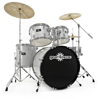 GD-7 Fusion Drum Kit by Gear4music, Silver Sparkle