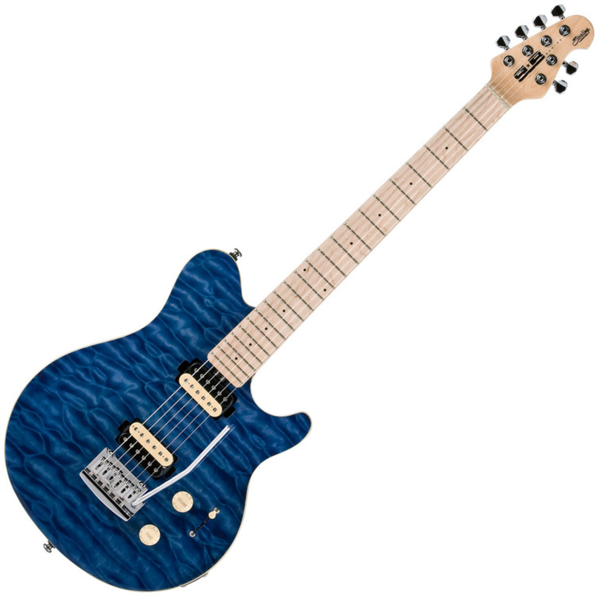 Sterling by music man sub ax3 guitar mn transparent blue for The sterling