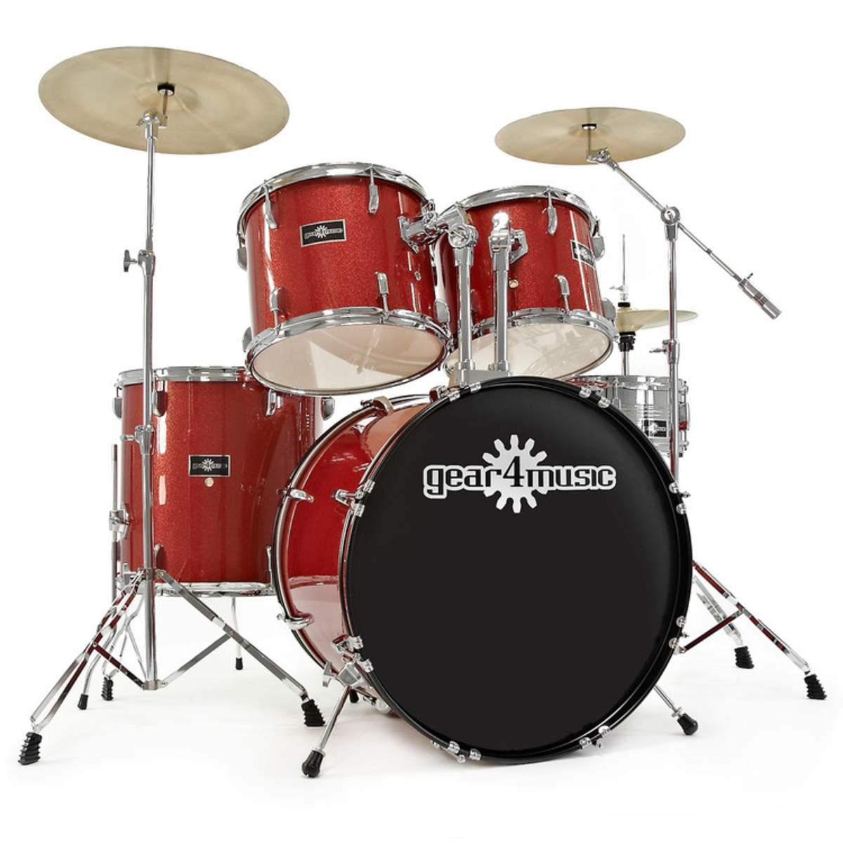 Gd 7 Drum Kit By Gear4music Red Sparkle At Gear4music Com