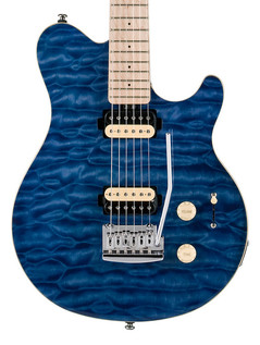 Sterling by Music Man Sub AX3 Guitar, MN, Transparent Blue