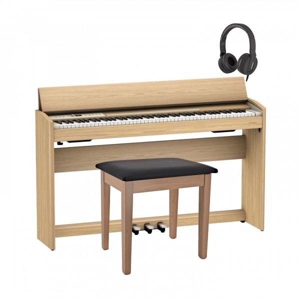 Roland F701 Digital Piano Package, Light Oak