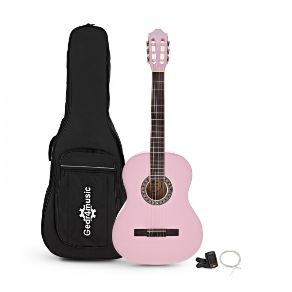 Deluxe Junior 1/2 Classical Guitar Pack, Pink, by Gear4music