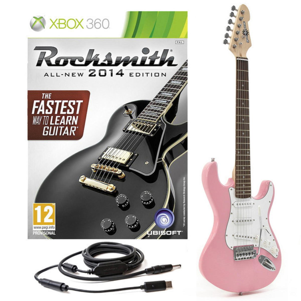 disc rocksmith 2014 xbox 360 3 4 la electric guitar pink gear4music. Black Bedroom Furniture Sets. Home Design Ideas