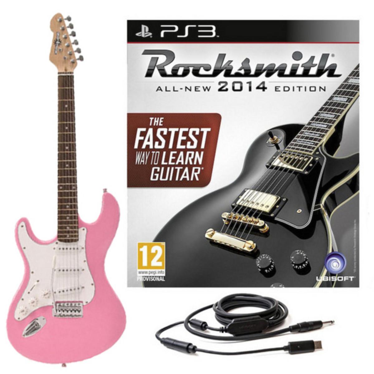 Scheibe Rocksmith 2014 PS3 + LA verließ übergab E-Gitarre, Pink bei ...