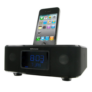 KitSound Ipod Clock Radio Boom Dock Black