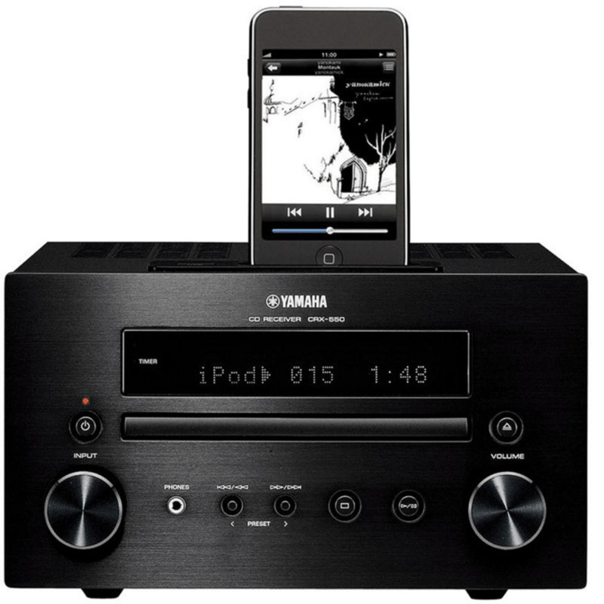 disc yamaha crx 550 mini sound system with ipod dock. Black Bedroom Furniture Sets. Home Design Ideas