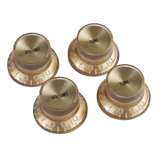 Gibson Top Hat Knobs for Electric Guitar, Gold with Gold Insert